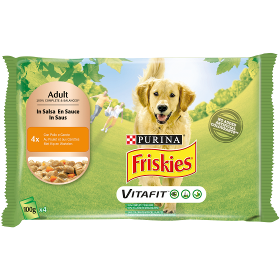 FRISKIES DOG ADULT 4X100GR POLLO E