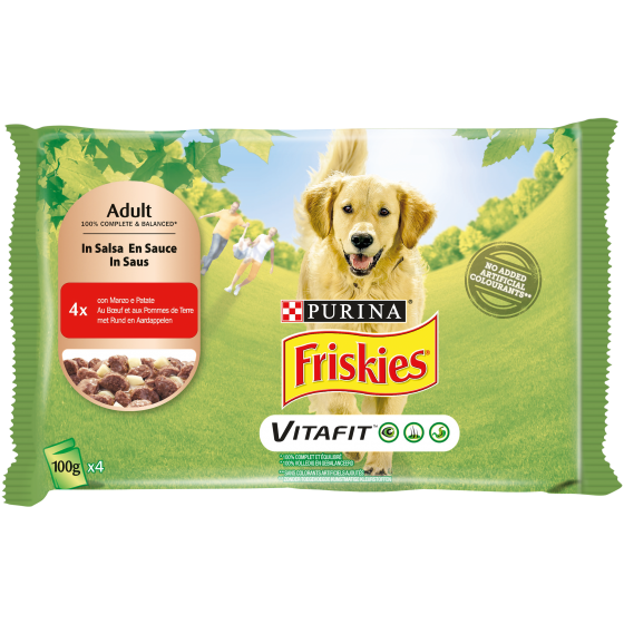 FRISKIES DOG ADULT 4X100GR MANZO E